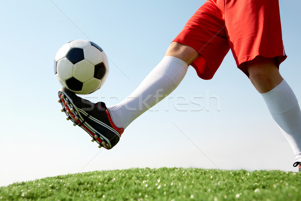 Photo stock: Balle · horizontal · image · ballon · footballeur · ciel · bleu