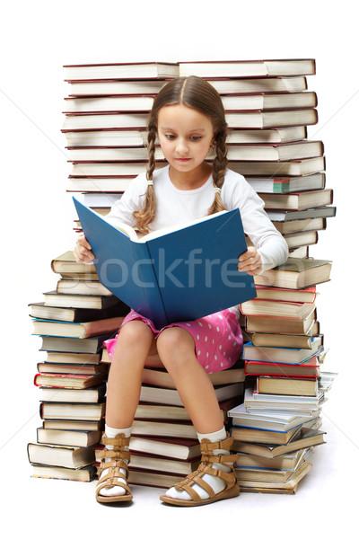 Akıllı okuyucu portre çalışkan oturma Stok fotoğraf © pressmaster