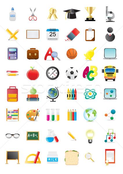 Stockfoto: School · objecten · groot · collectie · papier · klok
