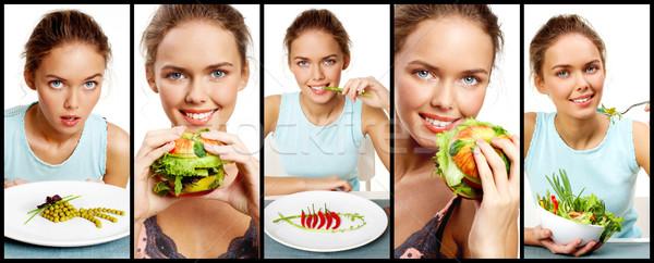 Foto stock: Jovem · vegetariano · colagem · bastante · jovem · vegetal