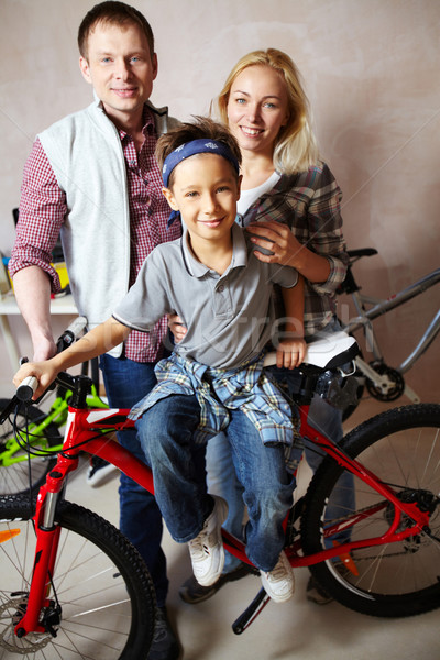 Family with bike Stock photo © pressmaster