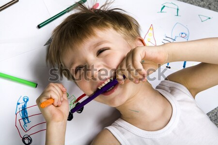 математика Cute образование мальчика назад исследование Сток-фото © pressmaster