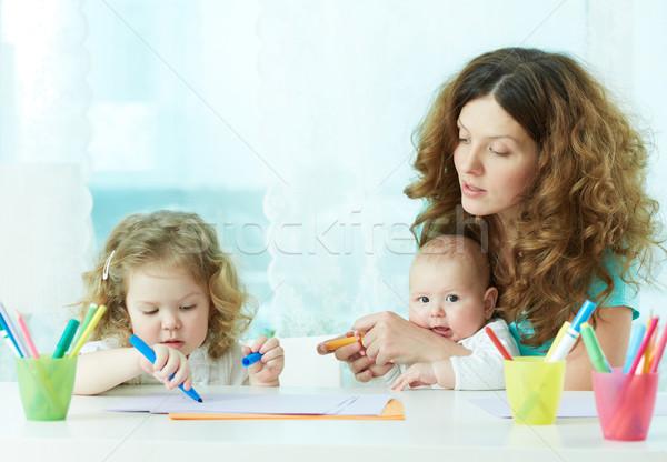 ホーム 美しい 母親 子供 少女 ストックフォト © pressmaster