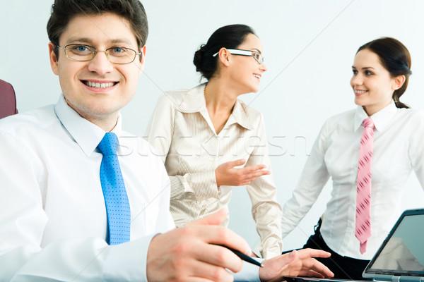 Stock fotó: Sikeres · férfi · portré · üzletember · szemüveg · beszél