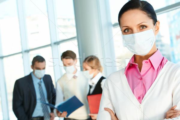Foto stock: Saúde · líder · máscara · olhando · câmera · trabalhando