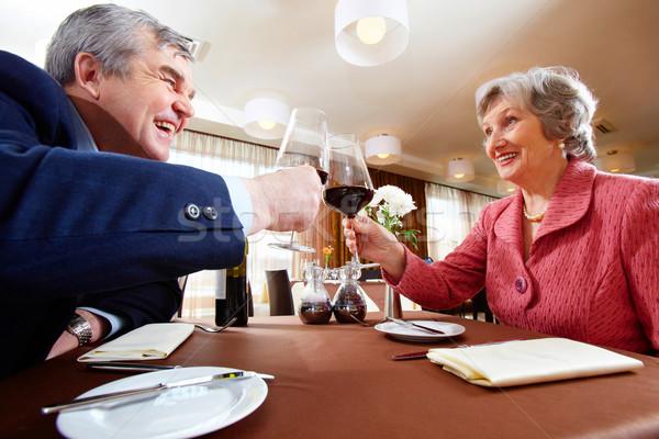Család esemény kép idős pár ünnepel elegáns Stock fotó © pressmaster