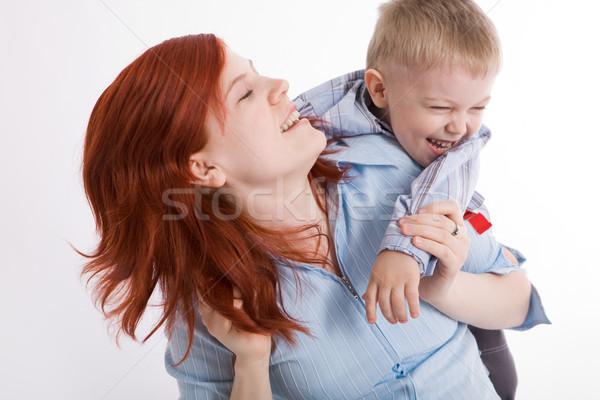 Stok fotoğraf: Mutluluk · sevimli · çocuk · güzel · anne
