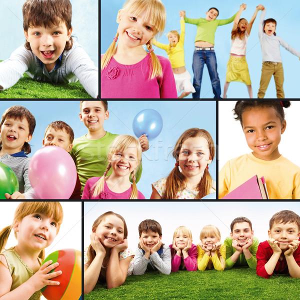 Stock fotó: Gyerekes · szabadidő · kollázs · játékos · gyerekek · lány