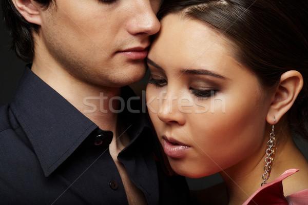 Posh visage de femme fille visage copain homme Photo stock © pressmaster