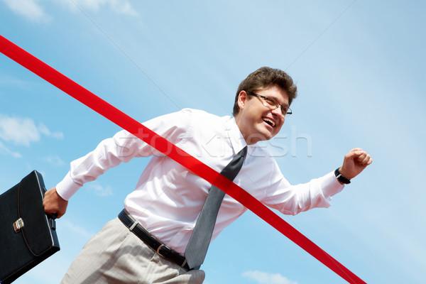 Stockfoto: Overwinning · foto · gelukkig · zakenman · business