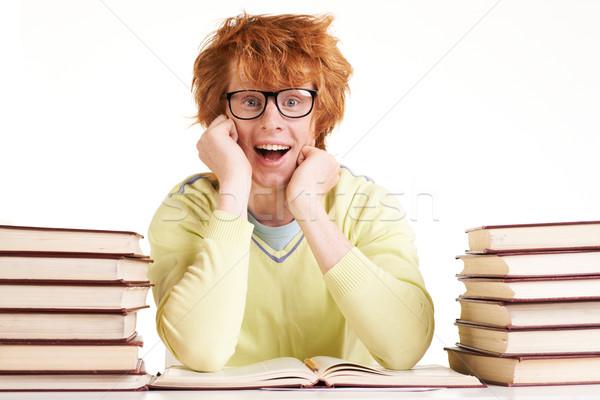 Wow portret student okulary patrząc kamery Zdjęcia stock © pressmaster