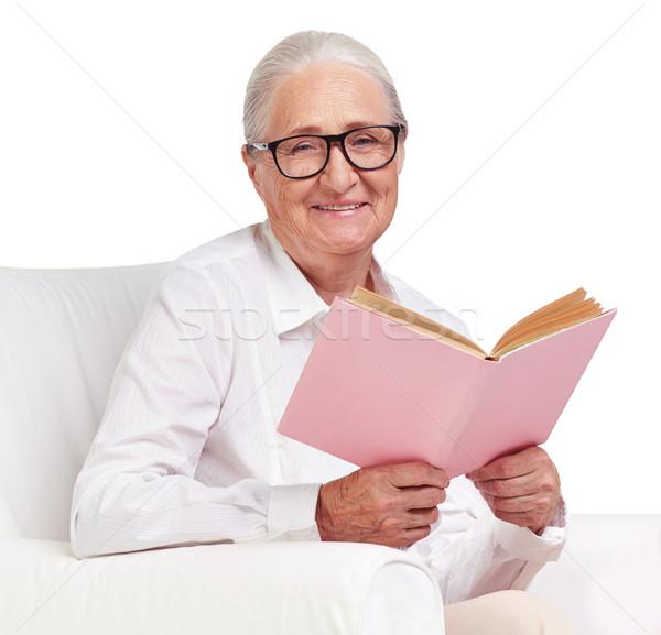 Zdjęcia stock: Czytania · książki · portret · starszych · kobiet · okulary