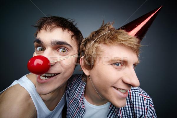 Gezichten twee grappig jongens camera Stockfoto © pressmaster