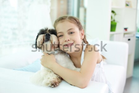 献身的な 友達 肖像 幸せな女の子 犬 ストックフォト © pressmaster
