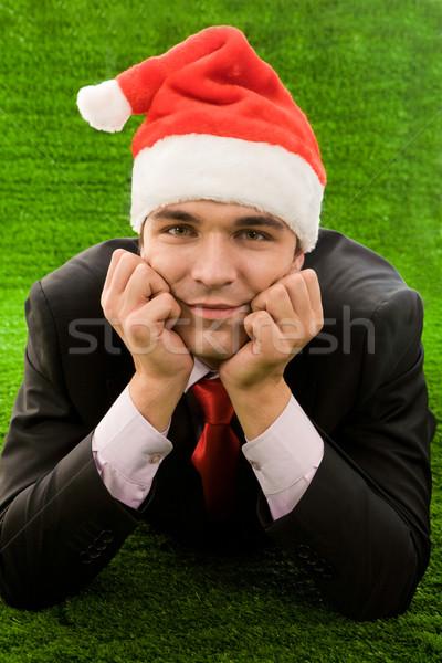 Stock fotó: Sikeres · férfi · üzletember · mikulás · sapka · megérint