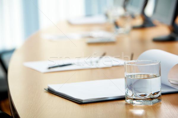 Stock fotó: Konferencia · kép · munkahely · papír · üveg · víz