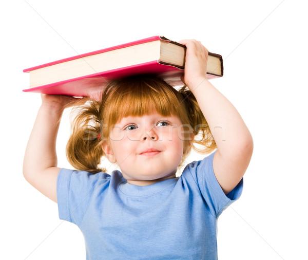 Stok fotoğraf: çocuk · portre · genç · gülen · ders · kitabı
