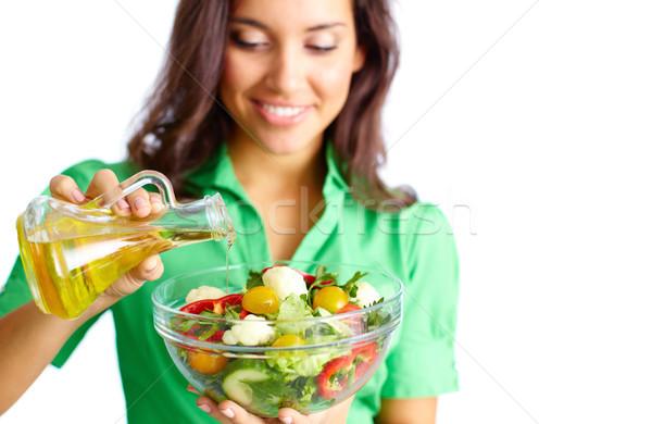 Stock fotó: Készít · saláta · közelkép · csinos · lány · áramló
