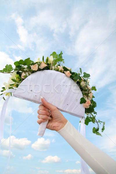 Photo stock: Bouquet · main · image · fleurs · Homme · ciel