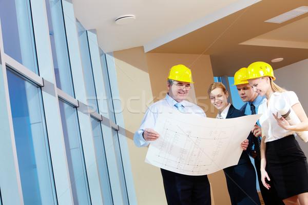 Stock fotó: Bent · portré · csapat · munkások · tart · projekt