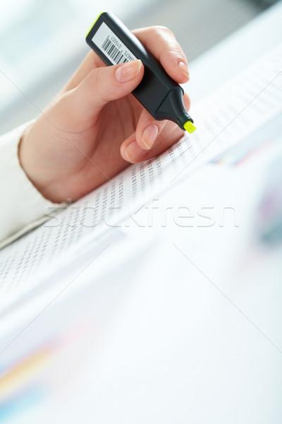 Stock fotó: Könyvelés · közelkép · női · kéz · tart · jelző