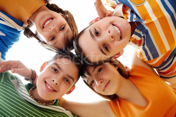 Foto d'archivio: Smart · studenti · ritratto · felice · ragazzi · guardando