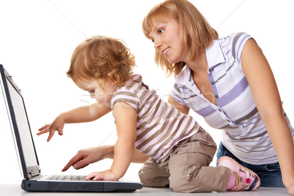 Foto stock: Atenção · foto · bonitinho · criança · mãe · olhando