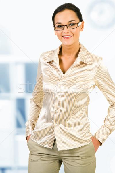 Elegáns nő portré csinos fehérgalléros munkás néz Stock fotó © pressmaster