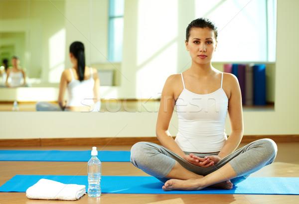 Foto stock: Yoga · formación · retrato · sereno · nina