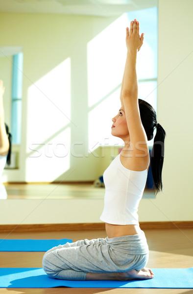Foto stock: Energético · nina · retrato · jóvenes · deportivo · ejercicio