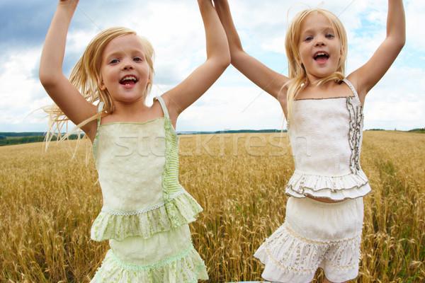 Dinamizmus portré energikus iker nővérek ugrik Stock fotó © pressmaster