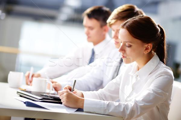 Stock fotó: Előadás · jegyzetek · csoport · üzletemberek · jegyzetel · képzés