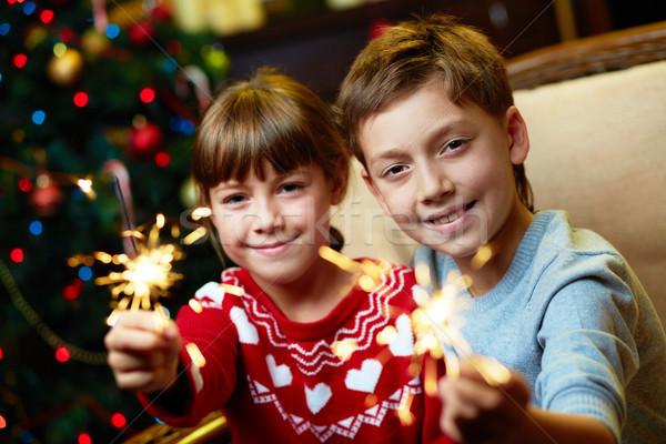 Rodzeństwo bengalski światła portret szczęśliwy christmas Zdjęcia stock © pressmaster