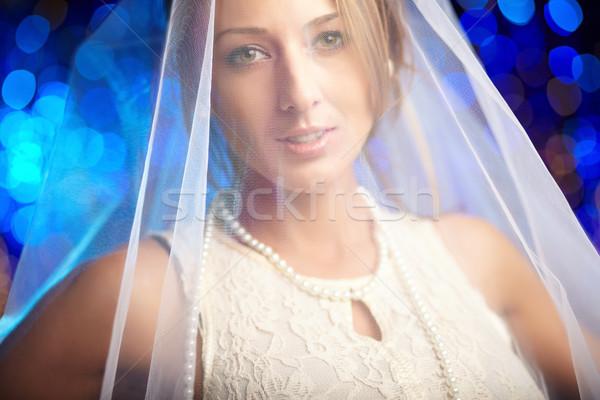 Porträt Verlobte lächelnd Braut weiß Schleier Stock foto © pressmaster