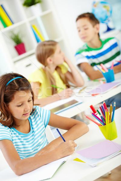 Photo stock: Dessin · portrait · fille · travail · étudiant · crayon