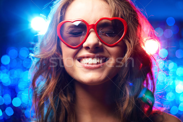 Verres fille souriant amour club Photo stock © pressmaster