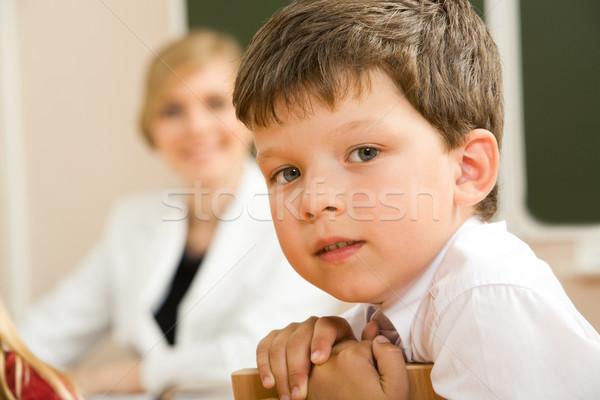 Zeki öğrenci yüz bakıyor kamera sınıf Stok fotoğraf © pressmaster
