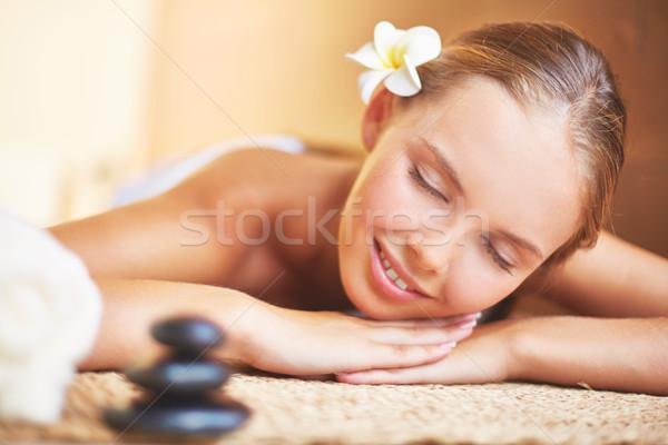 Spokojny portret kobiety młodych kobiet gotowy procedura Zdjęcia stock © pressmaster