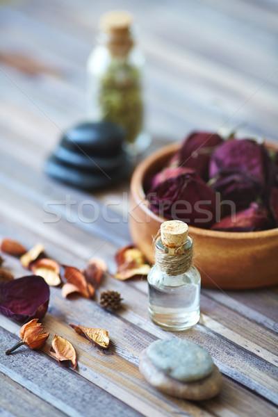 Aromaterápia szépség törődés tárgyak fából készült felület Stock fotó © pressmaster