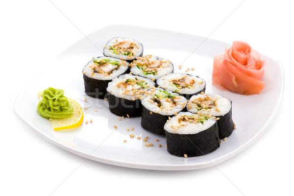 маки изображение суши кунжут имбирь wasabi Сток-фото © pressmaster