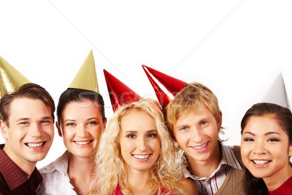 Foto stock: Cumpleanos · diversión · línea · alegre · amigos · mirando