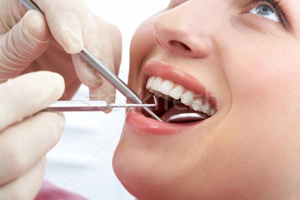 Foto d'archivio: Bocca · primo · piano · paziente · blu · dentista