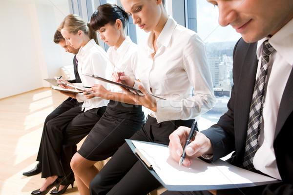 Сток-фото: лекция · изображение · деловые · люди · Дать · документы