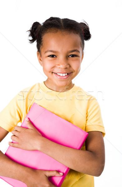 Gülen kız görüntü kitap beyaz Stok fotoğraf © pressmaster