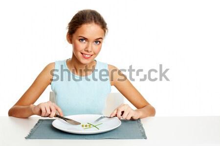 Foto stock: Alimentos · saludables · retrato · bastante · joven · listo · comer