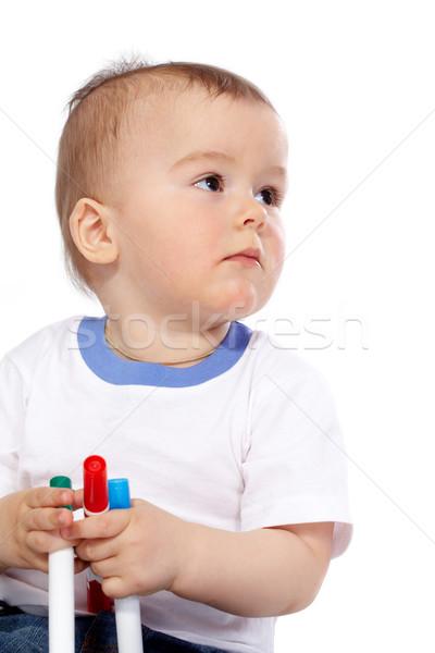 мальчика портрет ребенка карандашей белый Сток-фото © pressmaster