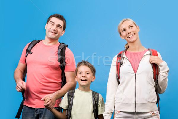 Foto stock: Família · retrato · homem · azul · grupo · relaxar
