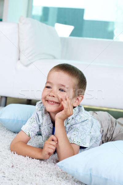 Tembel çok güzel çocuk zemin portre genç Stok fotoğraf © pressmaster