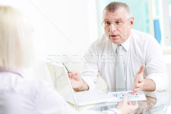 Tárgyal portré érett üzletember beszél partner Stock fotó © pressmaster