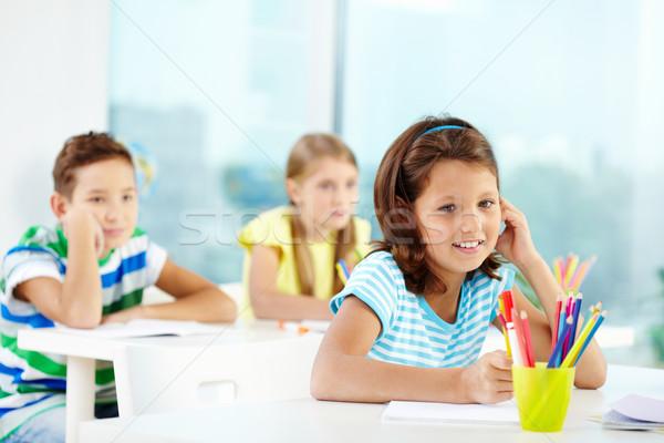сидят урок портрет девушки два студент Сток-фото © pressmaster